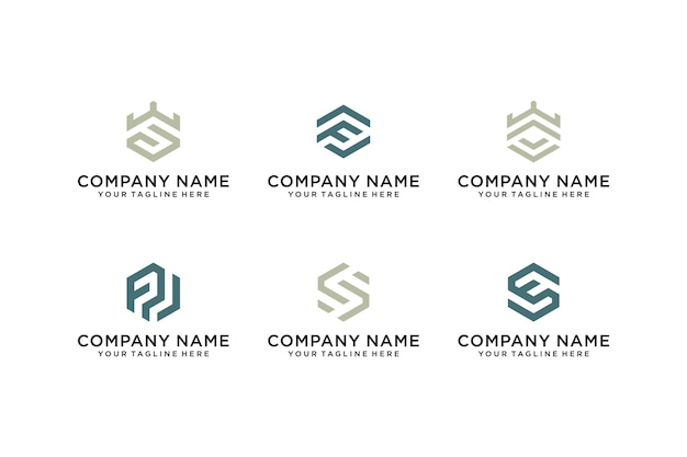 Set of abstract initial letter f and letter s logo template icons