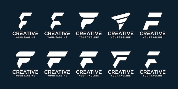 Set of abstract initial letter f logo template icons for business of fashion sport automotive