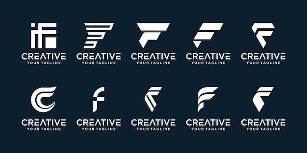 Set of abstract initial letter f logo template icons for business of finance fashion sport