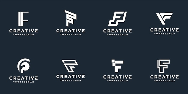Set of abstract initial letter f logo template.