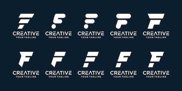 Set of abstract initial letter f with line art style logo template.