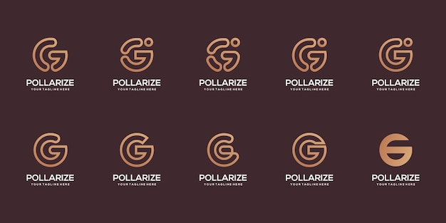 Set of abstract initial letter g logo design template. icons for business of digital, technology