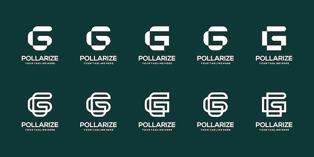 Set of abstract initial letter g logo design template. Premium Vector