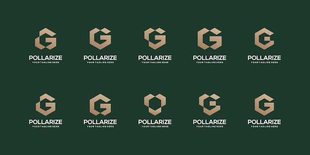 Set of abstract initial letter g logo design template.