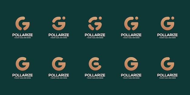 Set of abstract initial letter g logo design template