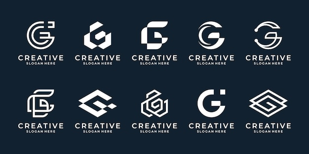 Set of abstract initial letter g logo template. geometric icons for business of fashion, sport, automotive.