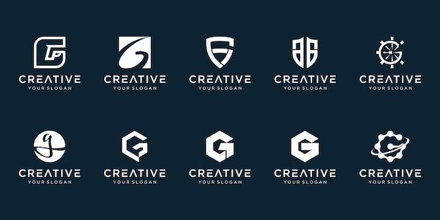 Set of abstract initial letter g logo template.