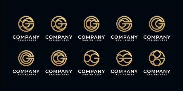 Set of abstract initial letter g logo templates