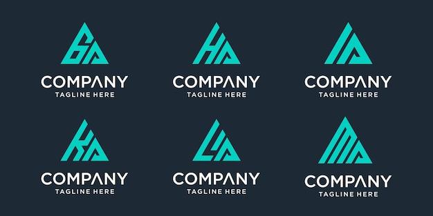 Set of abstract initial letter ga, ha, ia, ka, la, ma logo template