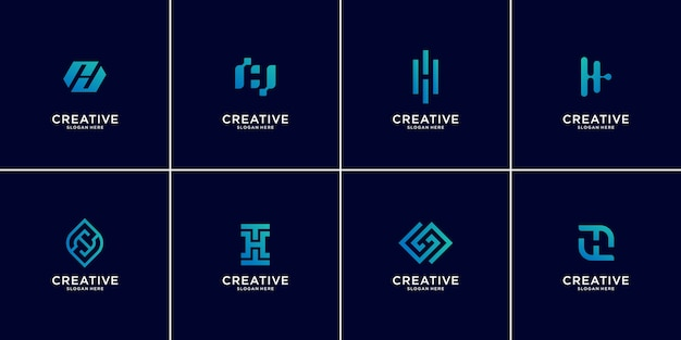 Set of abstract initial letter h logo design template,technology icons for business of luxury,gradient