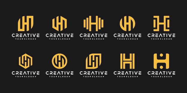 Set of abstract initial letter h logo template