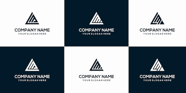 Set of abstract initial letter lm logo template.