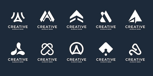 Set of abstract initial letter a logo design template. icons for business of luxury