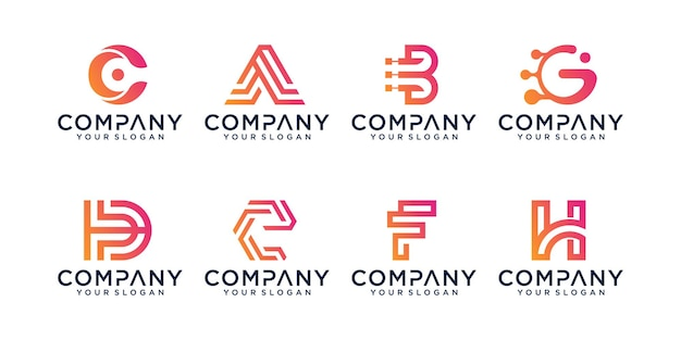 Set of abstract initial letter logo design template