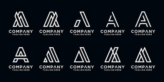 Set of abstract initial letter a logo template. icons for business of luxury, elegant, simple.