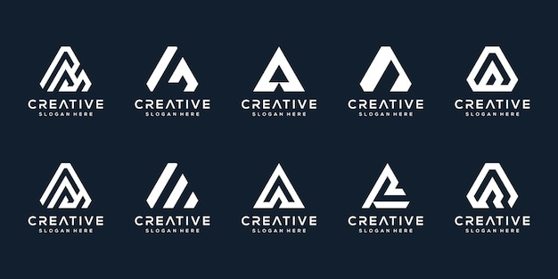 Set of abstract initial letter a logo template.