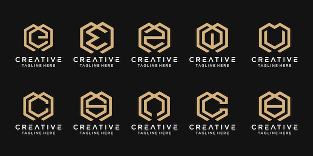 Set of abstract initial letter m, e, c, s, logo template. icons for business of fashion, consulting, building, simple.