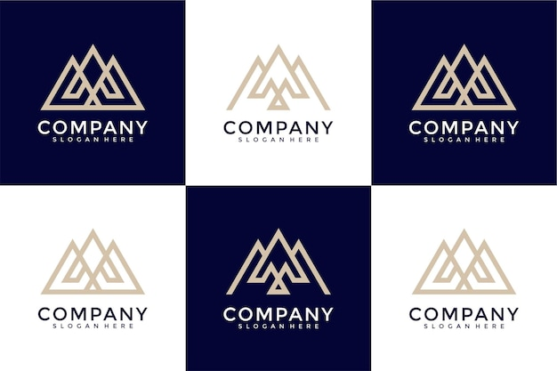Set of abstract initial letter m and a logo template icons for business of luxury elegant simple