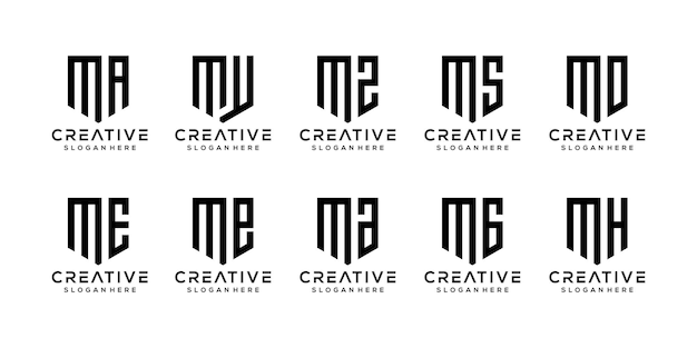 Set of abstract initial letter m logo template.