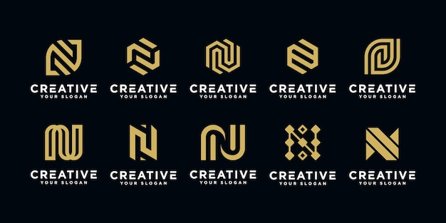 Set of abstract initial letter n logo design template.