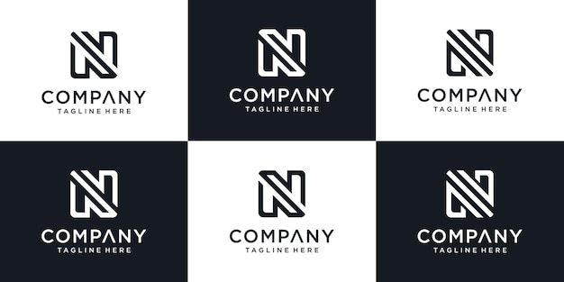 Set of abstract initial letter n logo template. monogram icons