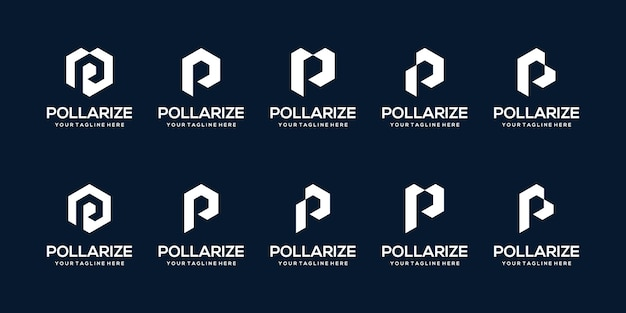 Set of abstract initial letter p logo  template. icons for business of auto, sport.