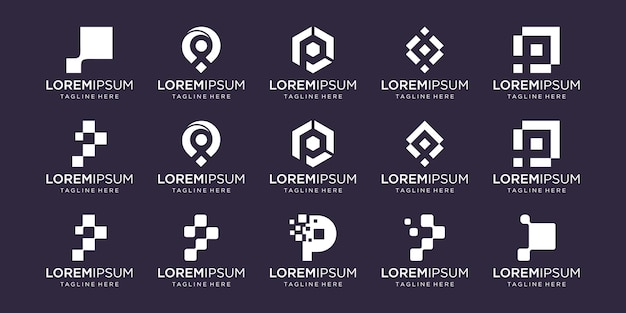 Set of abstract initial letter p logo template. icons for business of fashion, digital, technology,