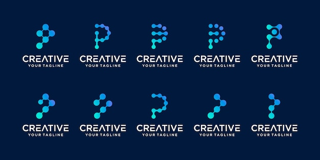 Set of abstract initial letter p logo template. icons for business of fashion, digital, technology