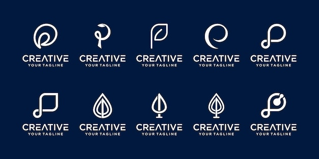 Set of abstract initial letter p logo template. icons for business of nature, organic Premium Vector