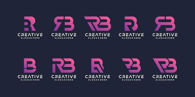 Set of abstract initial letter r, b logo template.