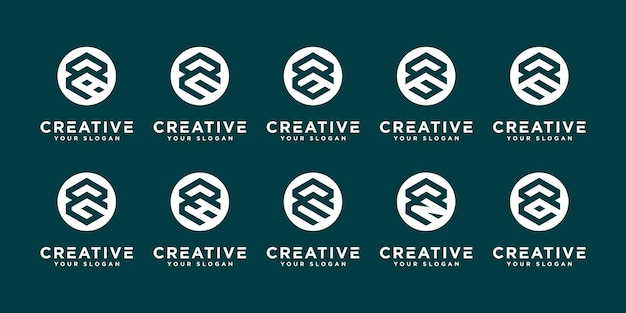 Set of abstract initial letter r and etc logo design template. icons for business of luxury