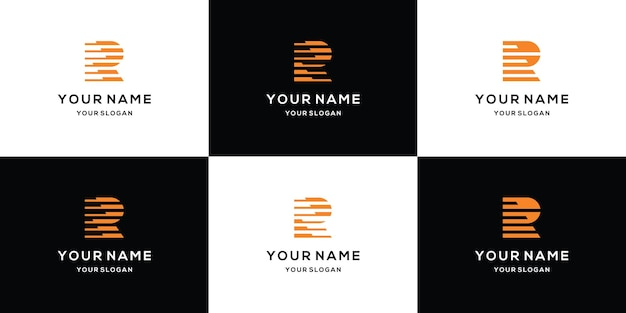 Set of abstract initial letter r logo template