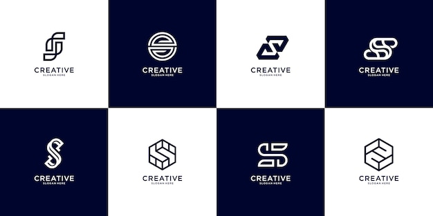 Set of abstract initial letter s logo template. icons for business of luxury, elegant, simple.