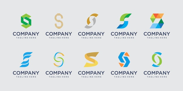 Set of abstract initial letter s logo template.