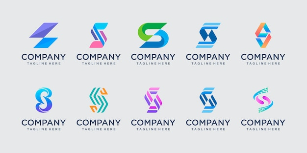 Set of abstract initial letter s logo template