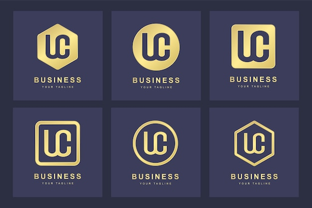 Set of abstract initial letter u c uc logo template.