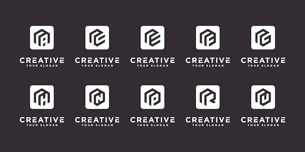 Set of abstract initial letter u and etc logo template. icons for business of luxury,elegant,simple.