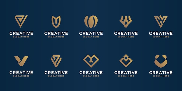 Set of abstract initial letter v logo design template. icons for business of luxury, elegant, simple.