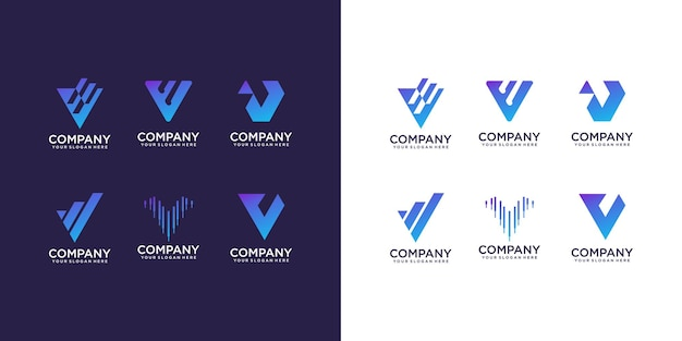 Set of abstract initial letter v logo design template