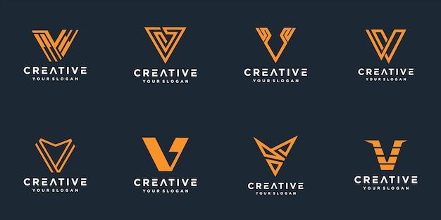 Set of abstract initial letter v logo template.