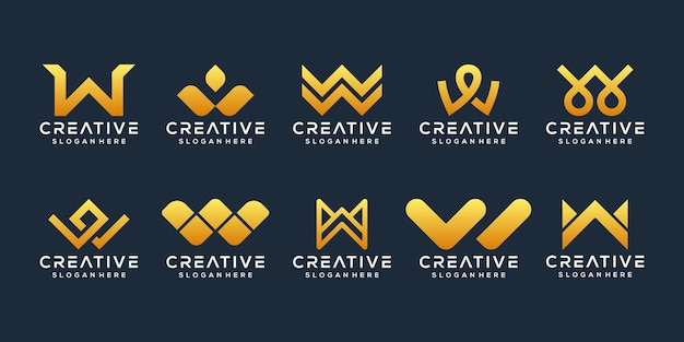 Set of abstract initial letter w logo template