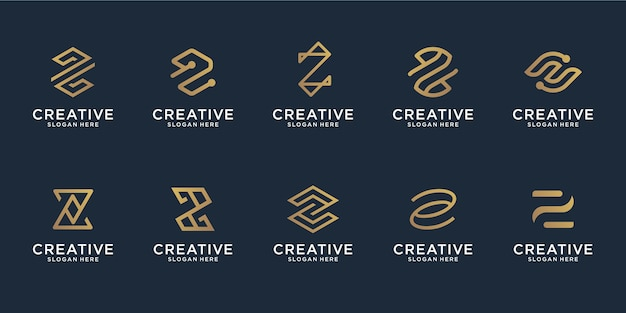 Set of abstract initial letter z line logo template.