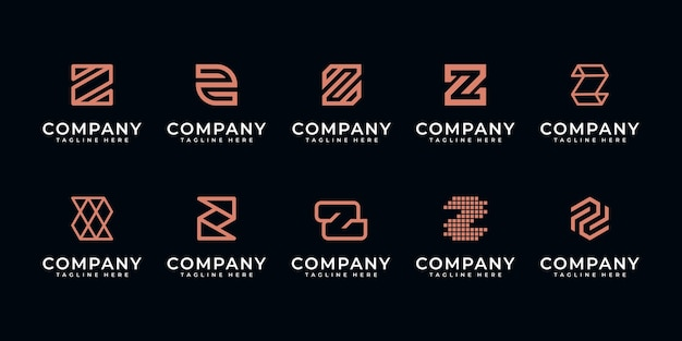 Set of abstract initial letter z, logo  template. icons for business of luxury,elegant,simple.