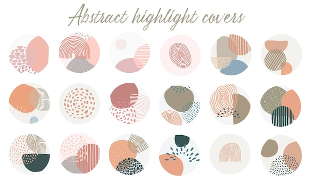 Set of abstract instagram highlight covers Premium Vector