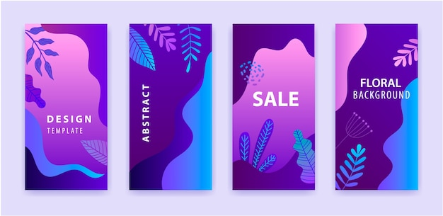 Set of abstract instagram story for social media with floral purple gradient bright vibrant background, sale banner