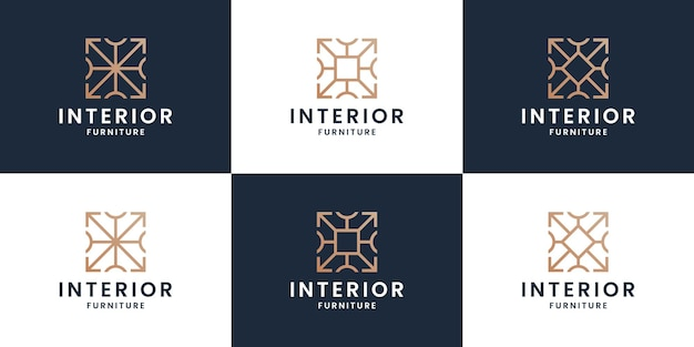 Set of abstract interiors logo design home furniture