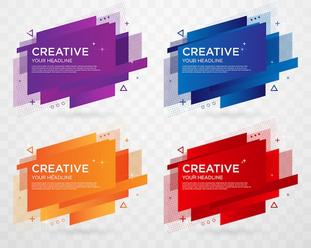 Set of abstract label template design with trendy style