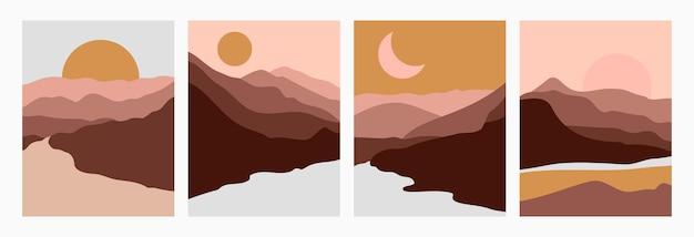 最小限のトレンディなスタイルで太陽と山や川の抽象的な風景を設定します。表紙、ポスター、はがき、ソーシャルメディアストーリーのテラコッタ色のベクトルの背景。自由奔放に生きるアートプリント。