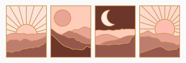 최소한의 트렌디한 스타일로 태양과 달이 있는 산의 추상적인 풍경을 설정합니다. 표지, 포스터, 엽서, 소셜 미디어 이야기에 대한 테라코타 색상의 벡터 배경. 보헤미안 아트 인화.
