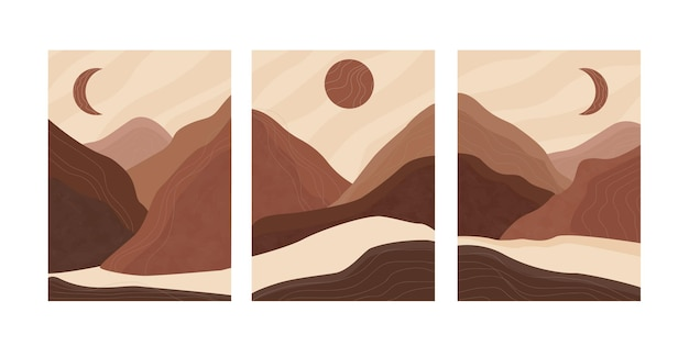 Set of abstract landscape posters. aesthetic background landscape with mountains. arth tones, burnt orange, terracotta colors, pastel. modern minimalist art print. boho wall decor.